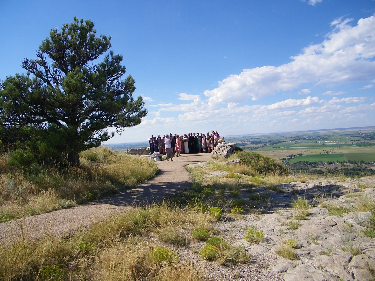 A wedding party at the north overlook.