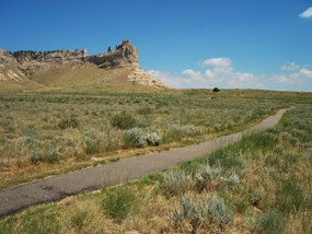 A view of Saddle Rock from the Monument's Bicycle Path