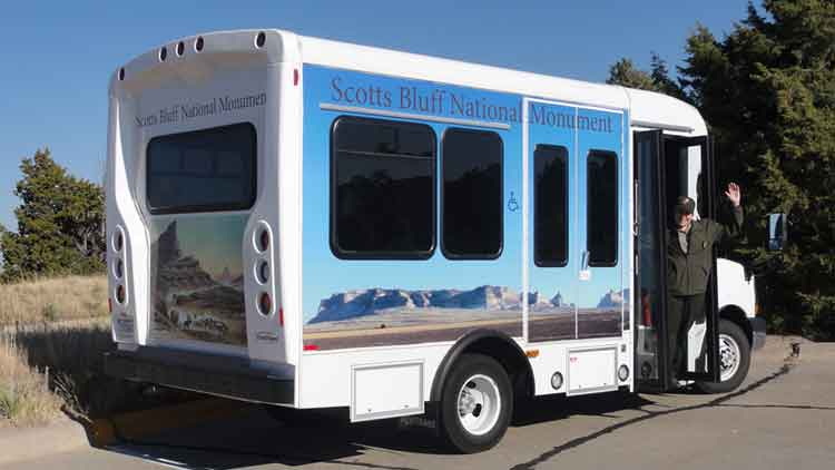 Scotts Bluff visitor shuttle.