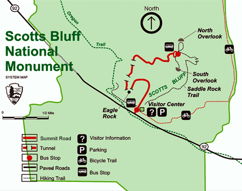 Map of Scotts Bluff National Monument