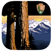 An app icon with red sequoia tree trunks over a mountain background with a national park service arrowhead in the top right corner.