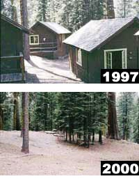 Before and after view of cabin area in Giant Forest