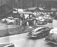 Cars line up for gas at Giant Forest Market