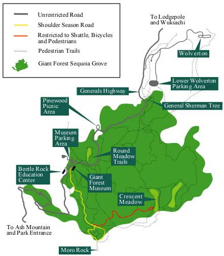Map showing location of facilities in Giant Forest