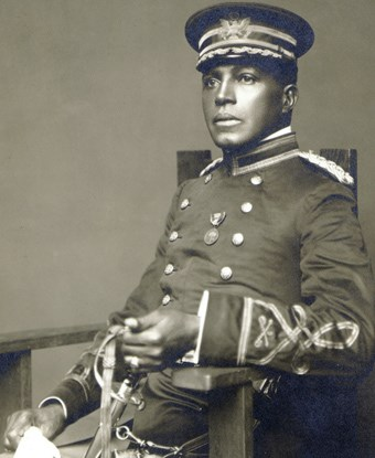 Charles Young in full dress uniform prior to receiving the NAACP Spingarn Medal in 1916.