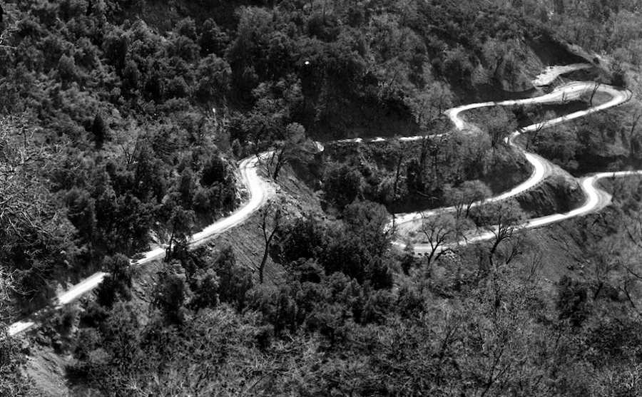A view of the winding switchbacks road.