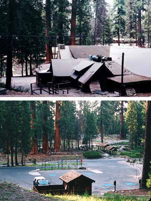 The Giant Forest Cafeteria before and after building removal (2004).