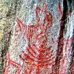 Native pictograph located at Hospital Rock in Sequoia National Park