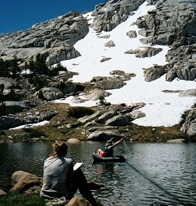 Gill-netting data recording in Sequoia and Kings Canyon National Parks.