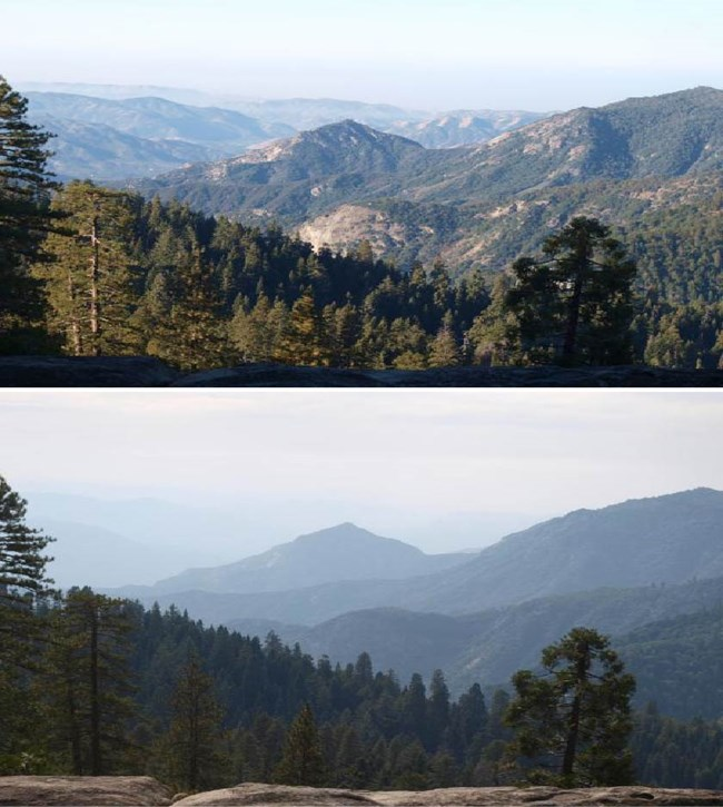 Two photos comparing a view from Sequoia National Park: one photo shows better visibility and the other shows worse visibility, with mountain ranges obscured.