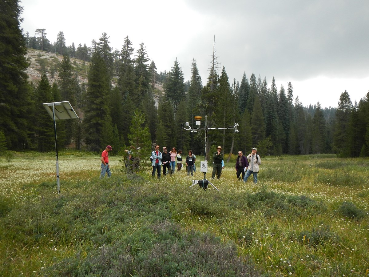 Scientists examine park meteorological station in Sequoia National Park.