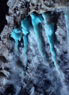 Azurite blue colored cave formations in Lilburn Cave