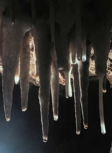 Water drops hang from a soda straw formation in Crystal Cave in Sequoia National Park