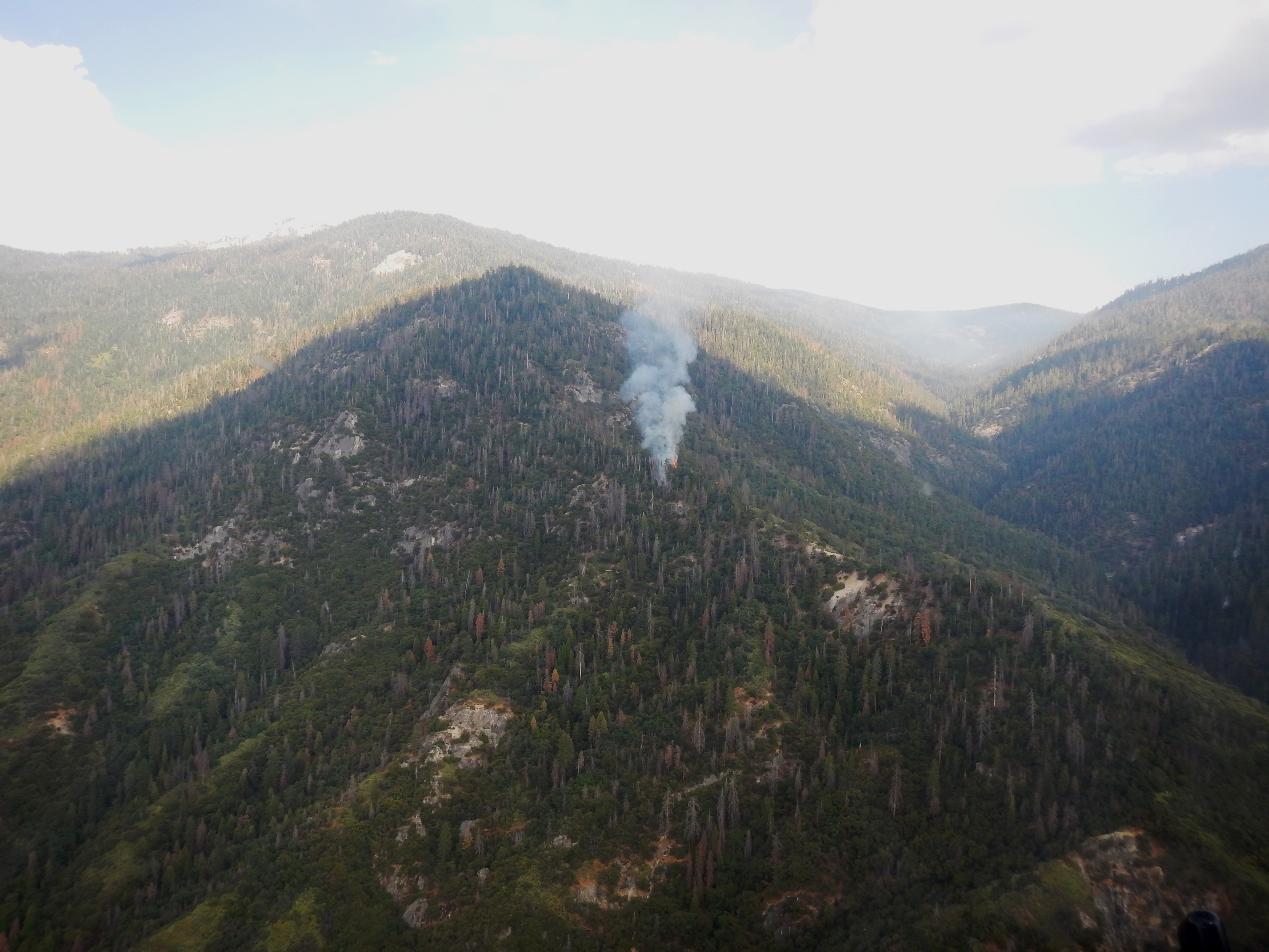 A closer view of the lightning-caused Horse Creek Fire. NPS Photo.
