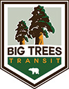 A logo for the Big Trees Transit shuttle