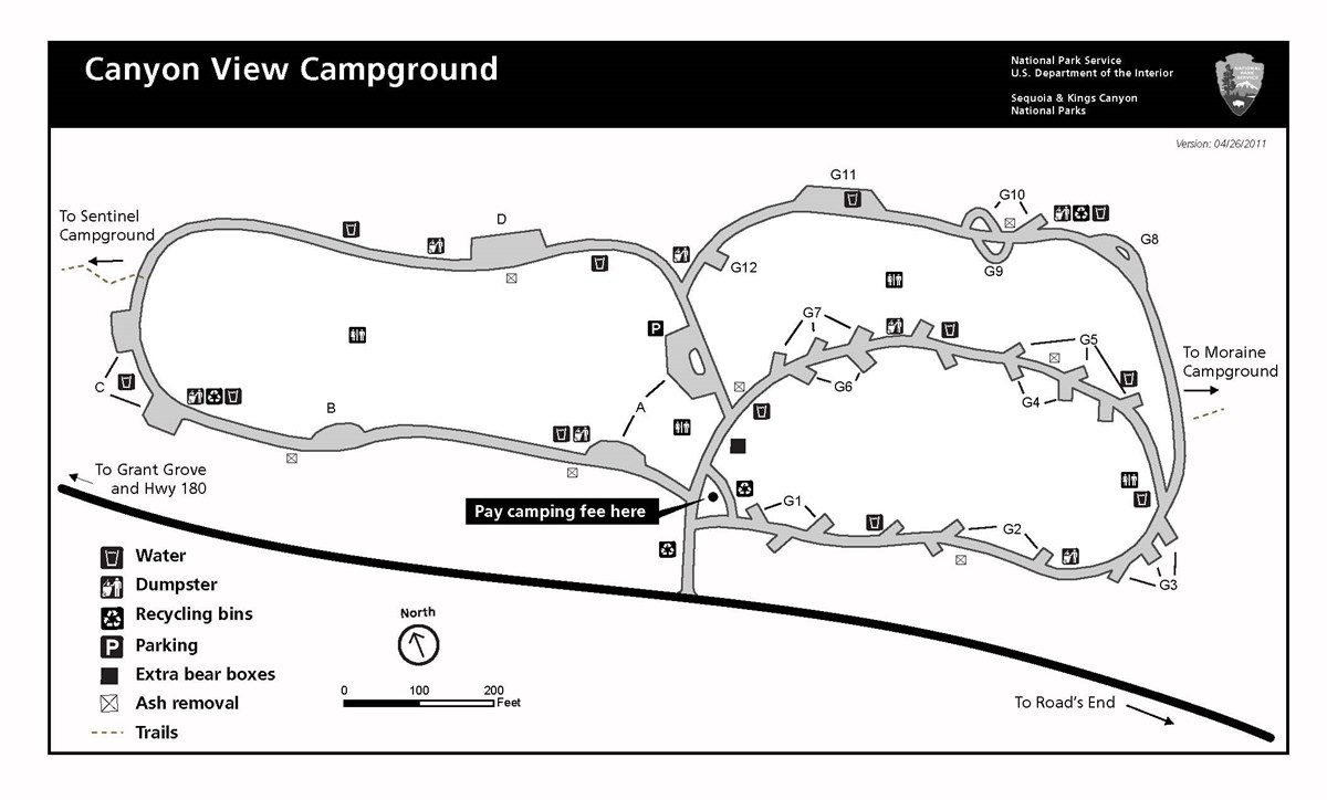 Canyon View Campground map, Kings Canyon National Park.