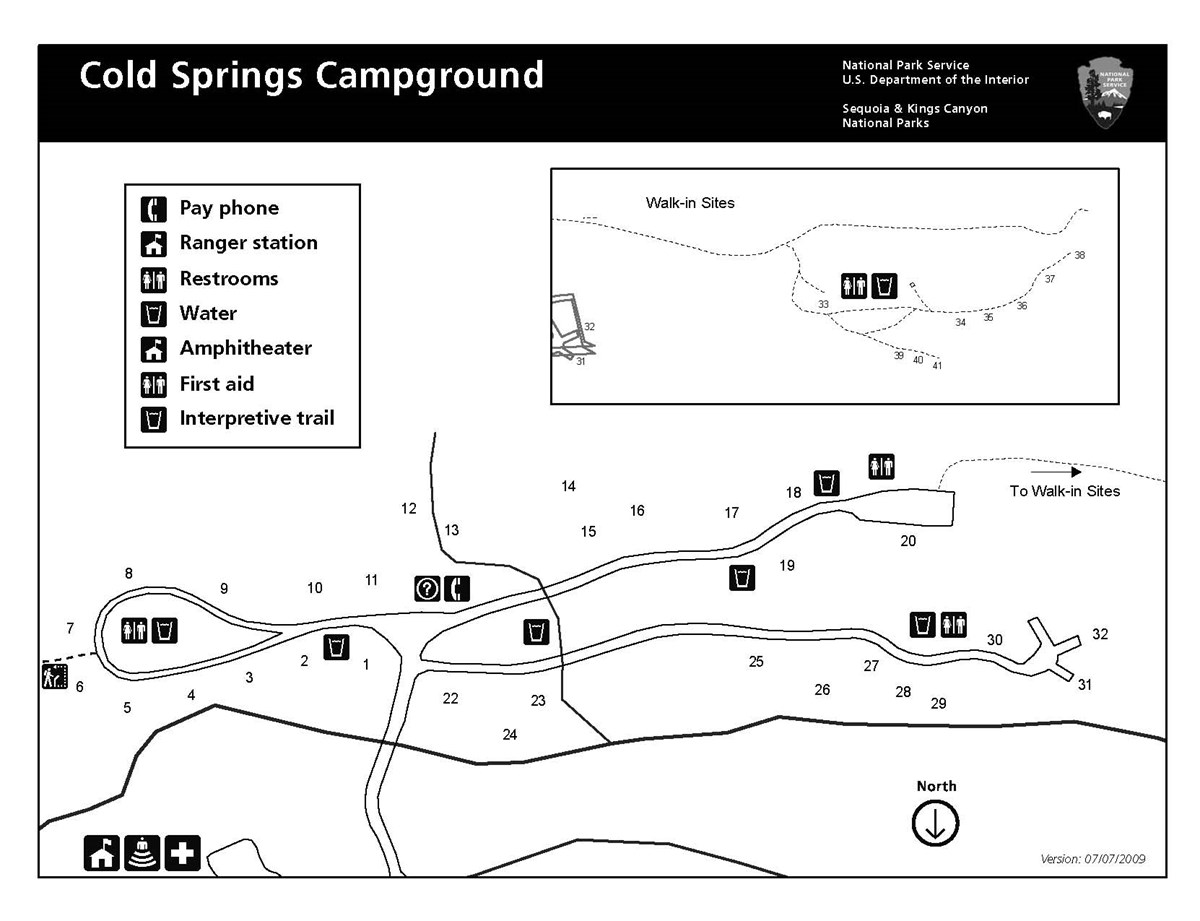 Cold Springs Campground map, Sequoia National Park.