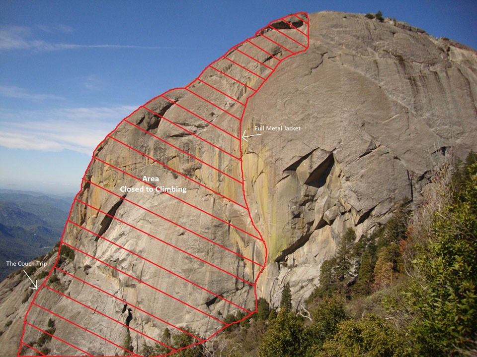 A view of Moro Rock, with the area between the Couch Trip and Full Metal Jacket climbing routes marked in red.