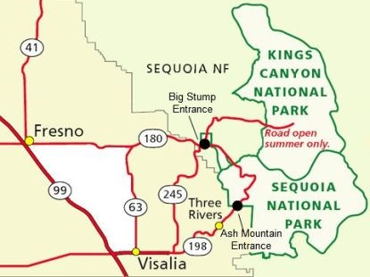 A map showing the highways that lead to entrances