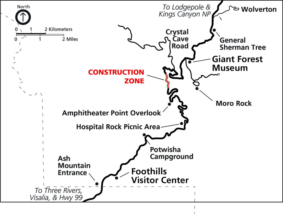 A map showing the Generals Highway construction zone