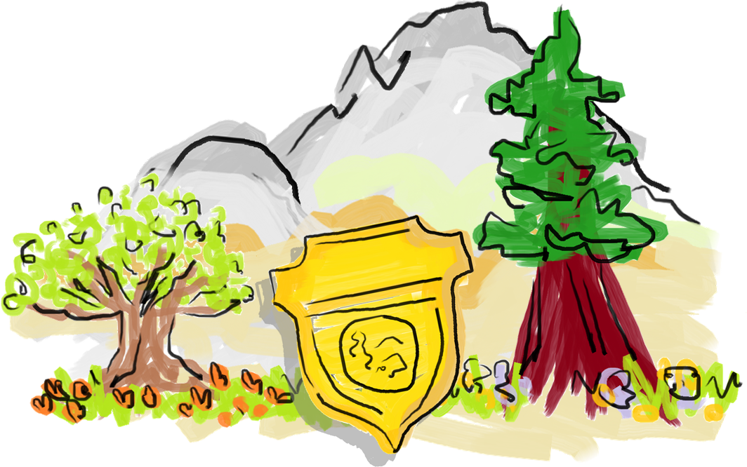 Cartoon drawing of an oak, sequoia, and ranger badge in front of a mountain