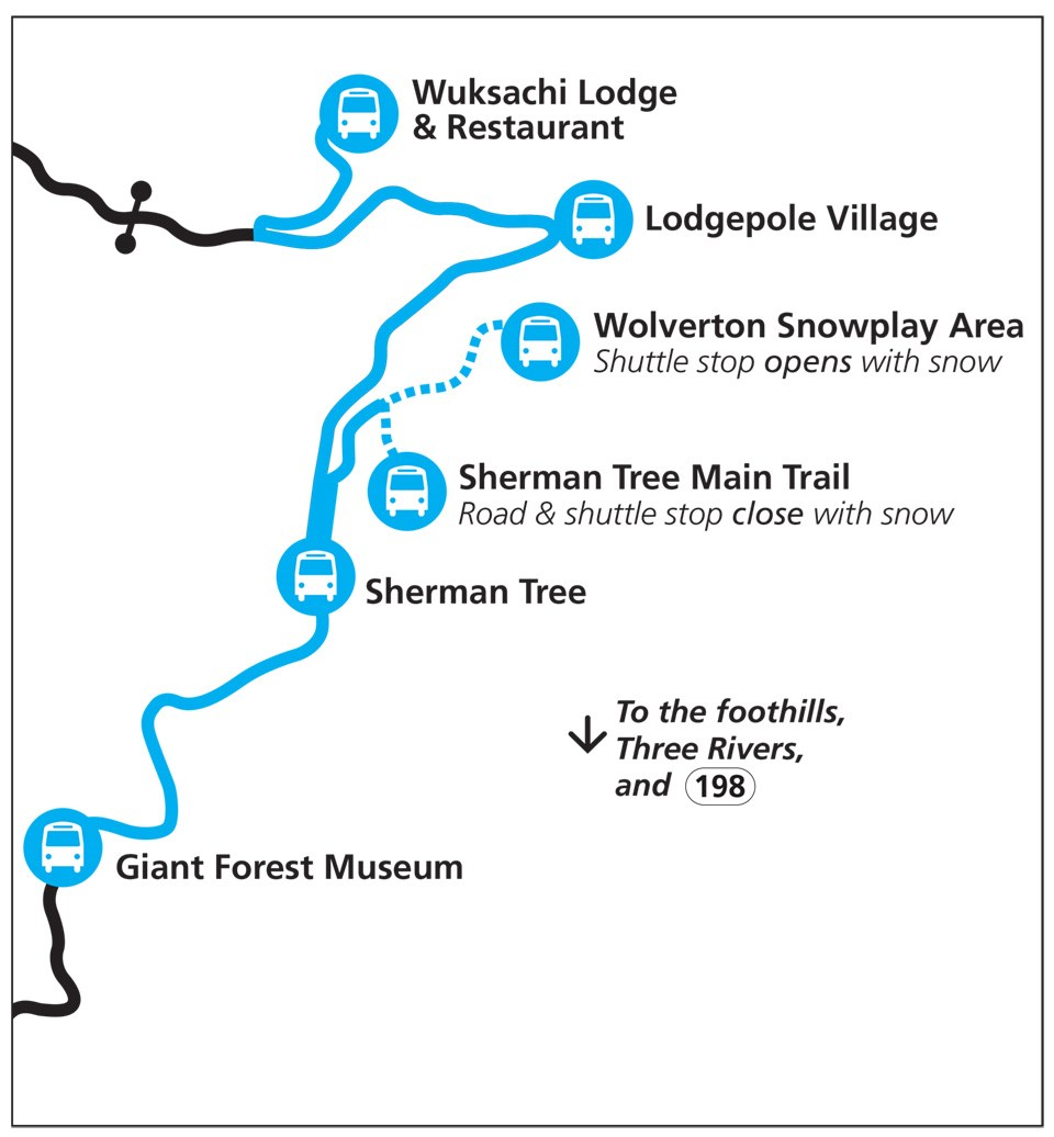 A map showing the route of the winter holiday shuttle, with stops at major facilities in the Giant Forest and Lodgepole areas.