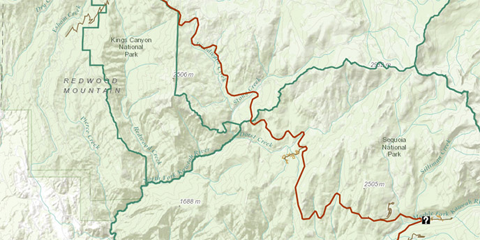 A Map Of Sequoia Kings Canyon National Parks