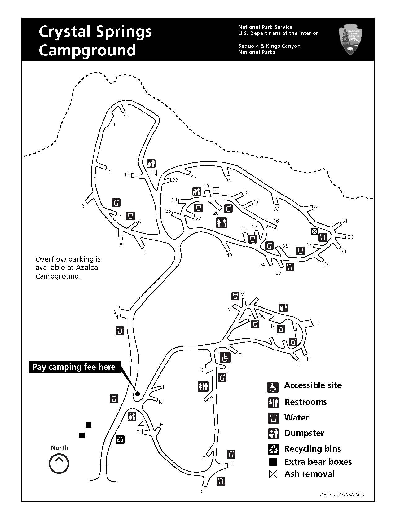 Crystal Springs Campground map, Kings Canyon National Park.