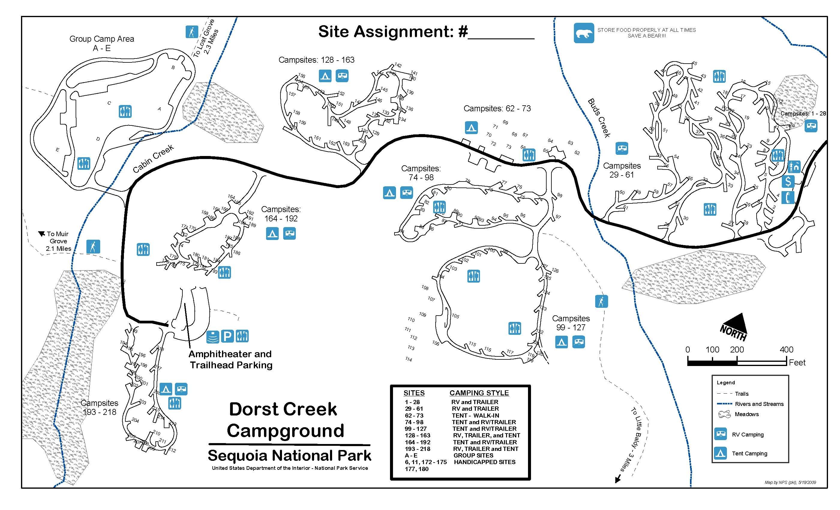 Dorst Creek Campground map, Sequoia National Park