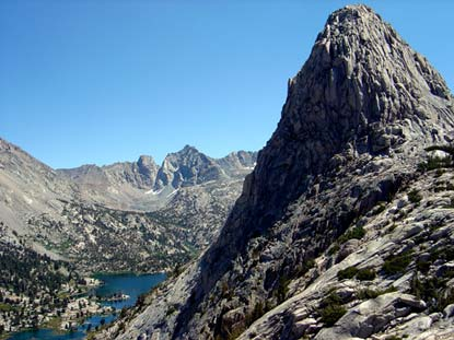 Fin Dome with Rae Lakes and Glen Pass in the distance
