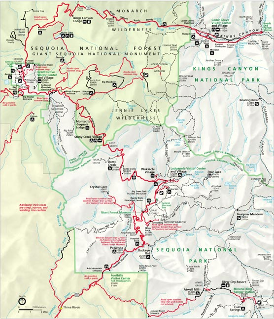 Map showing roads in and around Sequoia and Kings Canyon Naitonal Parks