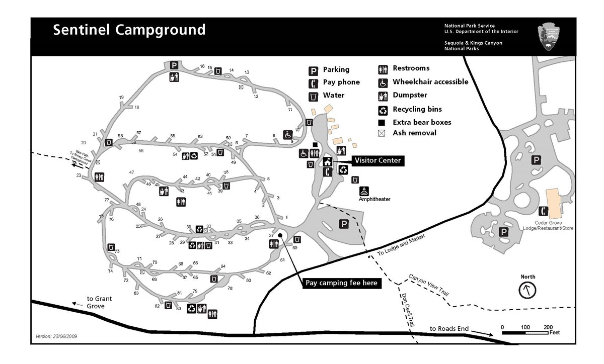 Sentinel Campground map, Kings Canyon National Park.