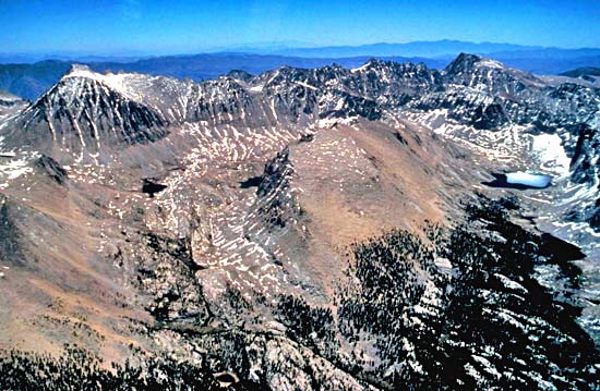 Aerial view of Mt. Whitney and Mt. Langley.