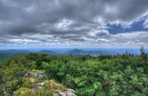 View from Hawksbill Summit on a cloudy day.