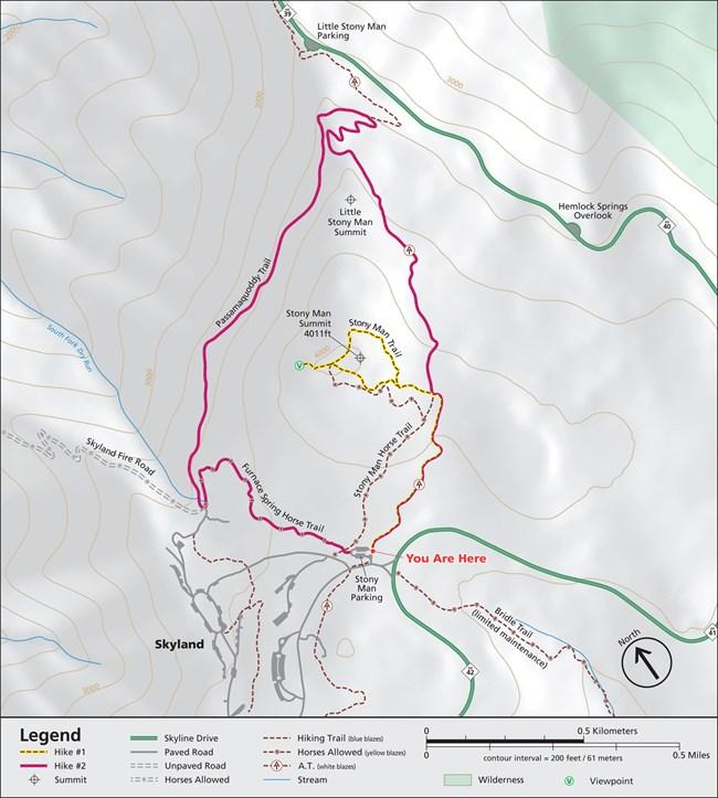 Stony Man Shenandoah National Park US National Park Service - Map of us hiking trails