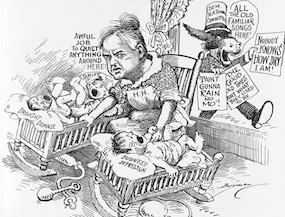 A depression-era cartoon depicting Hoover's struggle with the economy.