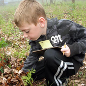 A kindergarten student taking a close up look at a plant in Shenandoah.