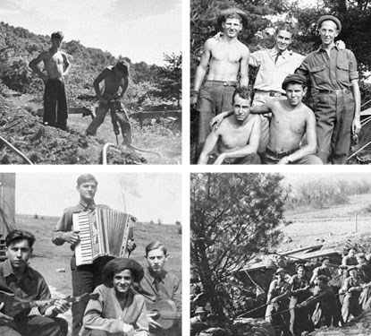 Four historic photos depicting the Civilian Conservation Corps in Shenandoah National Park.
