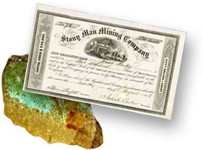 Stony Man Mining Co. Stock Certificate 1858 and an example of copper ore.
