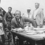 Franklin Delano Roosevelt having lunch at the Big Meadows CCC camp, August, 1933.