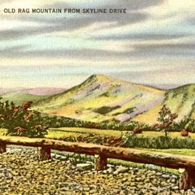 old rag post card with overlook and guard rail.