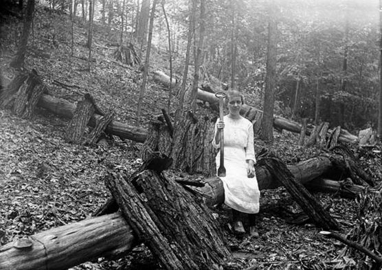 Tanbark was stripped from trees in the early spring with a tool called a spud held by the young girl in this photograph taken in 1916.