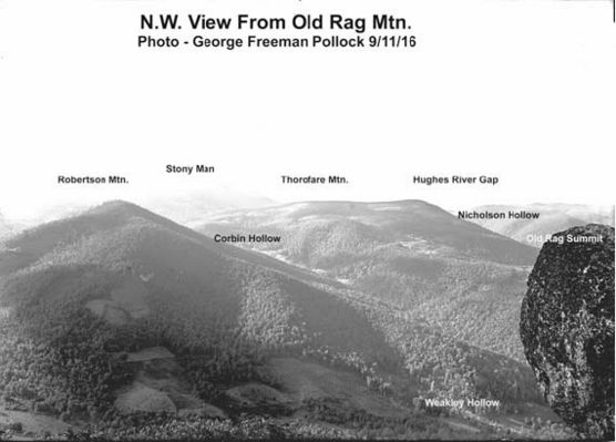 Veiw NW from Old Rag w/ captions, by George F. Pollock, 11 Sept 1916.