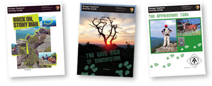 A graphic of the covers of the three new Shenandoah National Park Ranger Explorer Activity Guides.