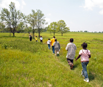 A Park Ranger leads a group of young students across Big Meadows.