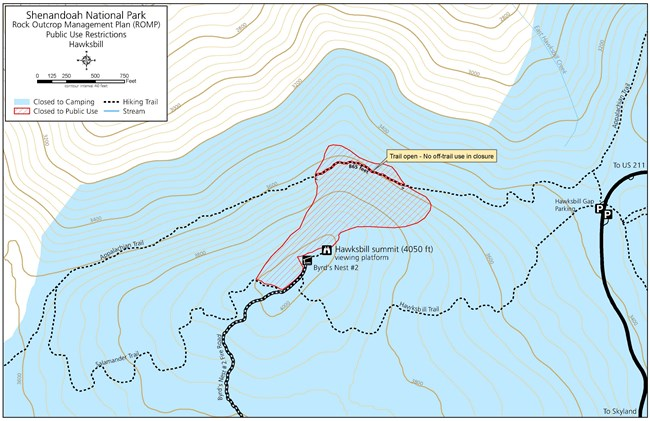 Map of area near Hawksbill closed to off trail use.