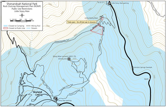 Map of  off trail public use restrictions near Little Stony Man.