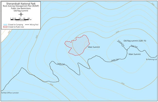 Map of closed to camping and closed to public use areas near Old Rag Summit.
