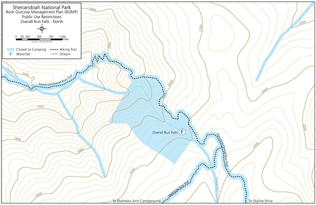 Map of closed to camping areas near Overall Run Falls.