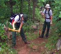 YCC crew members help maintain a trail in Shenandoah National Park.